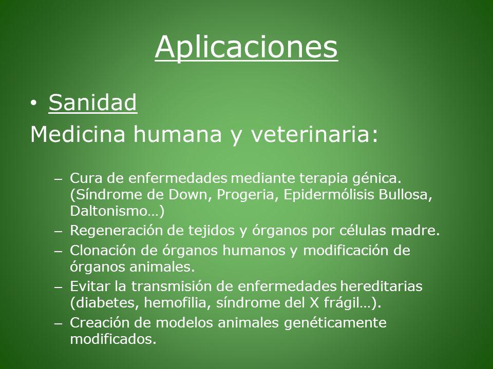 Aplicaciones Sanidad Medicina humana y veterinaria: