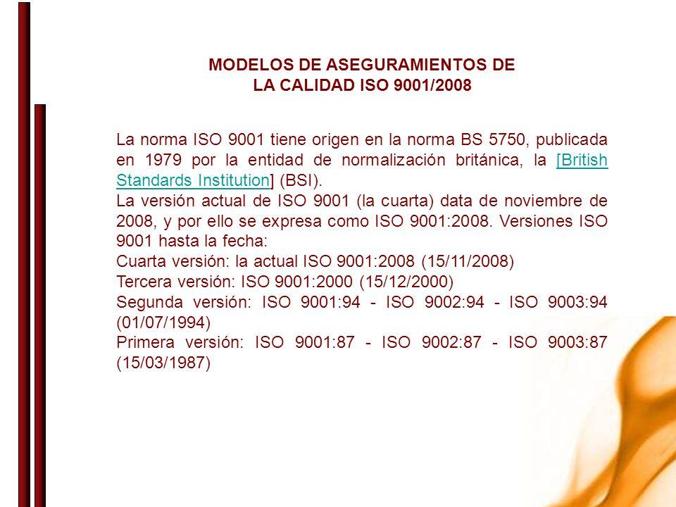 MODELOS DE ASEGURAMIENTOS DE LA CALIDAD ISO 9001/2008