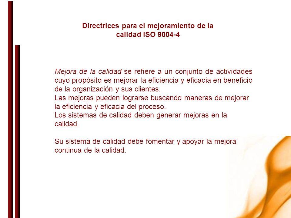 Directrices para el mejoramiento de la calidad ISO 9004-4