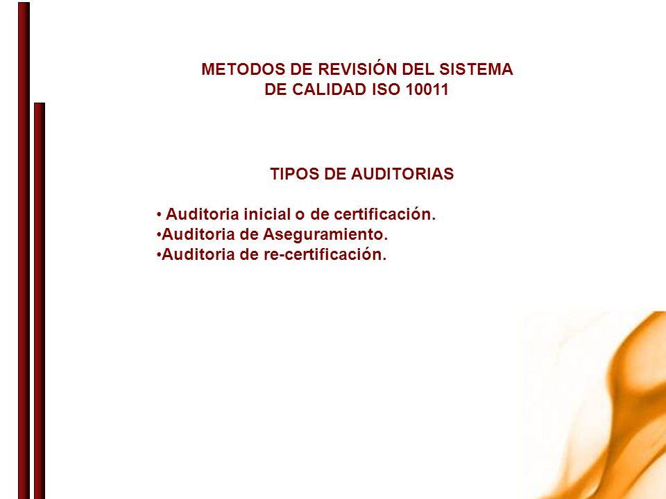 METODOS DE REVISIÓN DEL SISTEMA DE CALIDAD ISO 10011