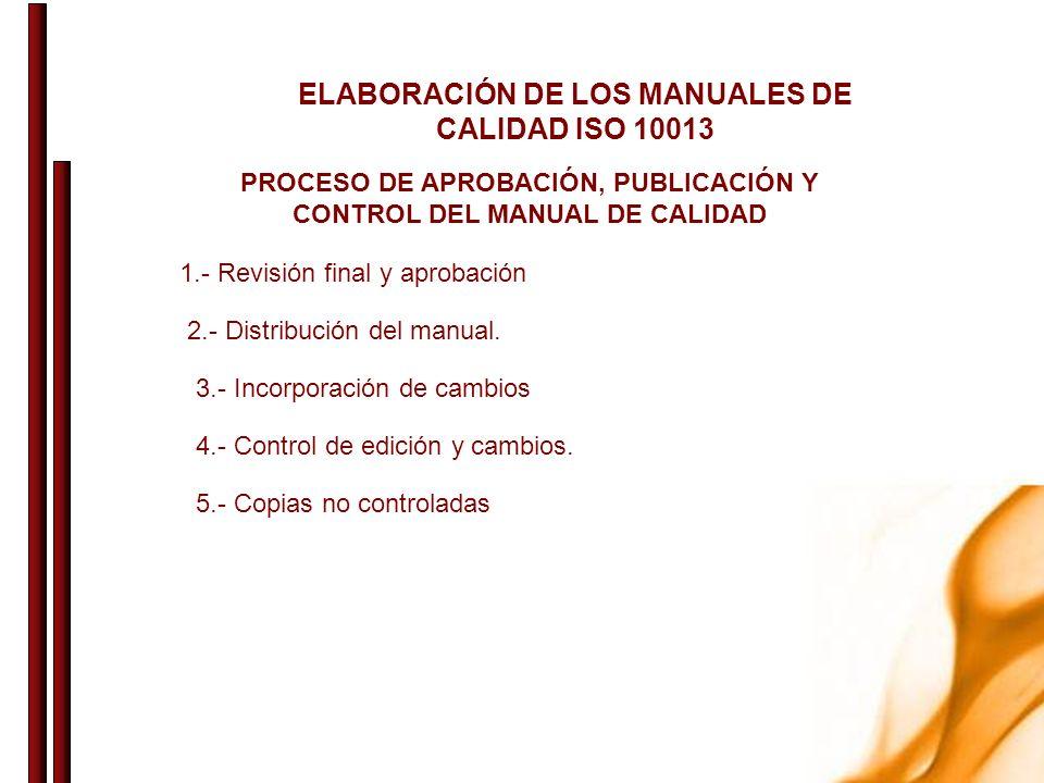 ELABORACIÓN DE LOS MANUALES DE CALIDAD ISO 10013