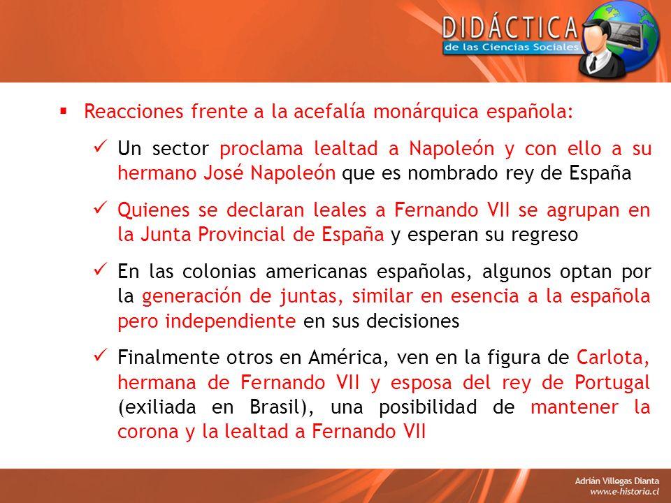 Reacciones frente a la acefalía monárquica española: