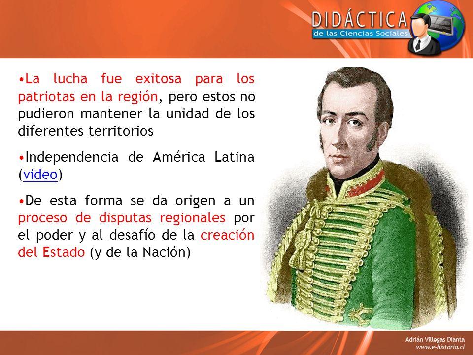 La lucha fue exitosa para los patriotas en la región, pero estos no pudieron mantener la unidad de los diferentes territorios