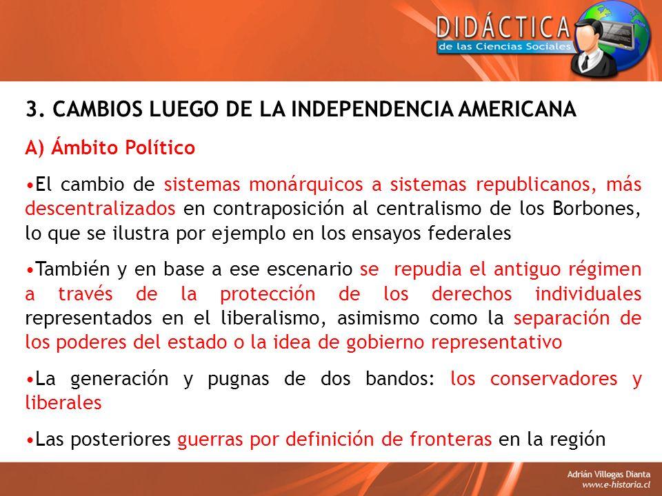 3. CAMBIOS LUEGO DE LA INDEPENDENCIA AMERICANA