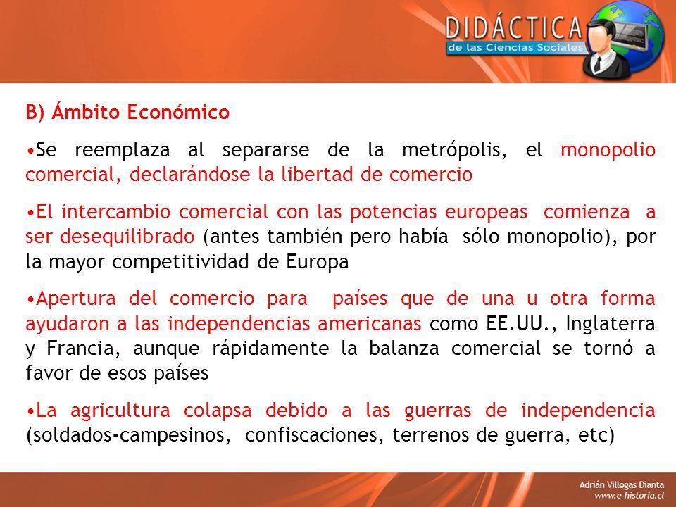 B) Ámbito Económico Se reemplaza al separarse de la metrópolis, el monopolio comercial, declarándose la libertad de comercio.