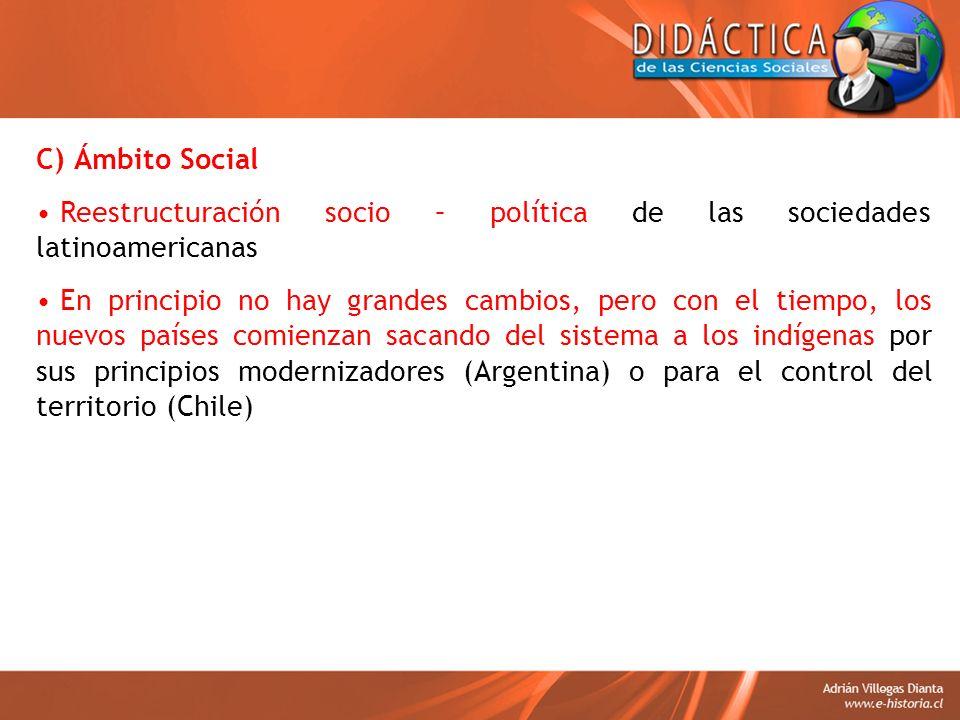 C) Ámbito Social Reestructuración socio – política de las sociedades latinoamericanas.
