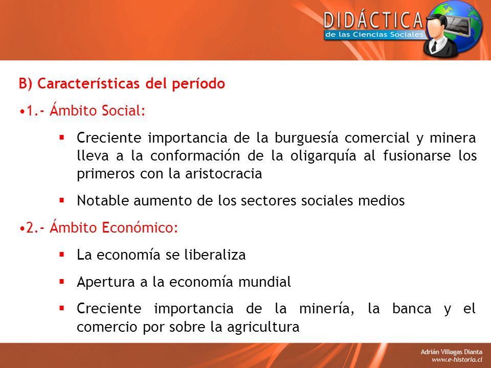 B) Características del período