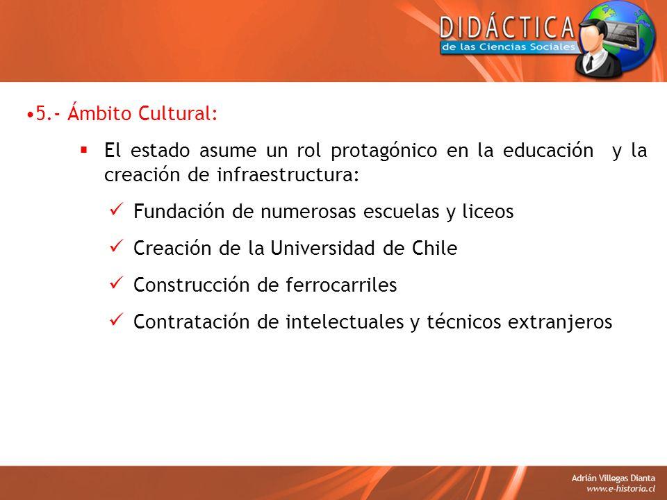 5.- Ámbito Cultural: El estado asume un rol protagónico en la educación y la creación de infraestructura: