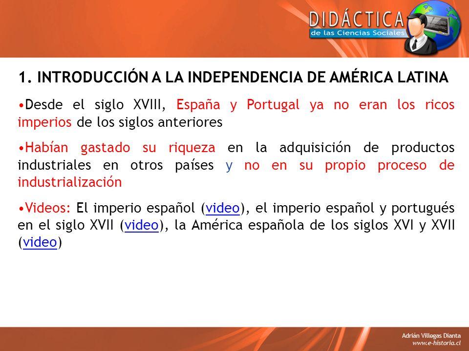 1. INTRODUCCIÓN A LA INDEPENDENCIA DE AMÉRICA LATINA