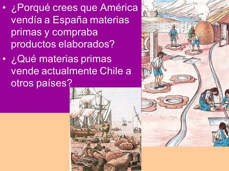 ¿Porqué crees que América vendía a España materias primas y compraba productos elaborados