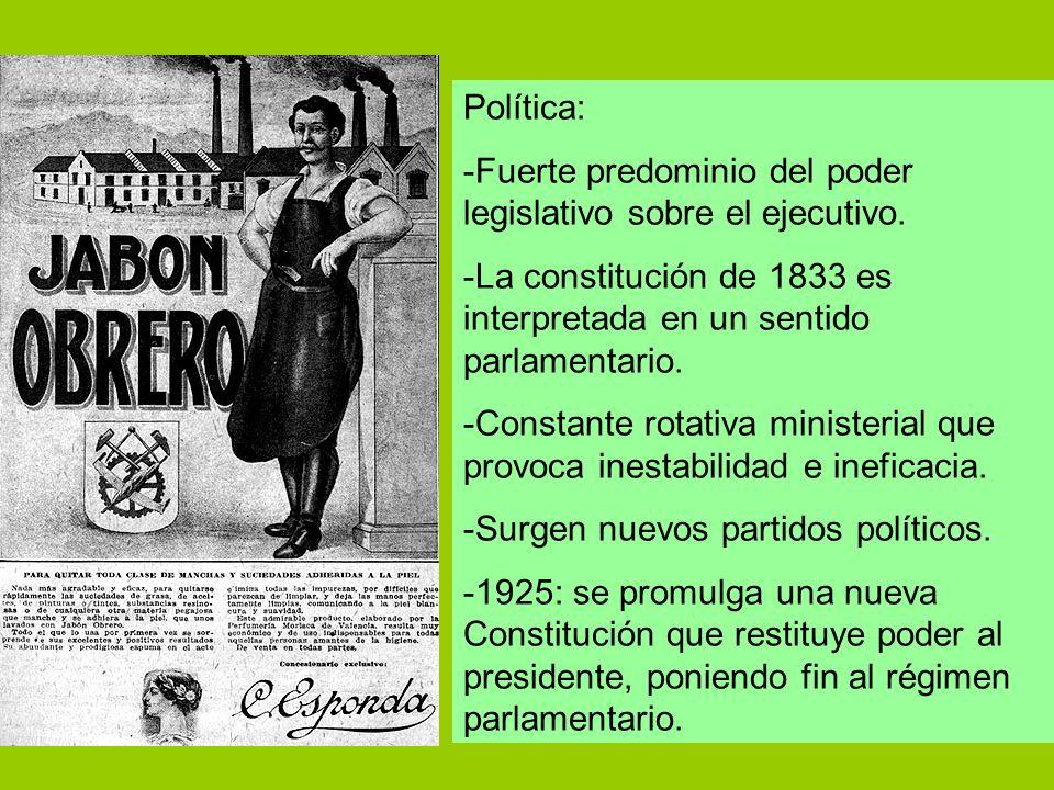 Política: -Fuerte predominio del poder legislativo sobre el ejecutivo. -La constitución de 1833 es interpretada en un sentido parlamentario.