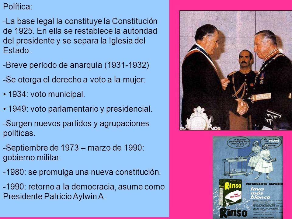 Política: -La base legal la constituye la Constitución de 1925. En ella se restablece la autoridad del presidente y se separa la Iglesia del Estado.