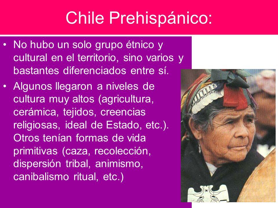 Chile Prehispánico:No hubo un solo grupo étnico y cultural en el territorio, sino varios y bastantes diferenciados entre sí.