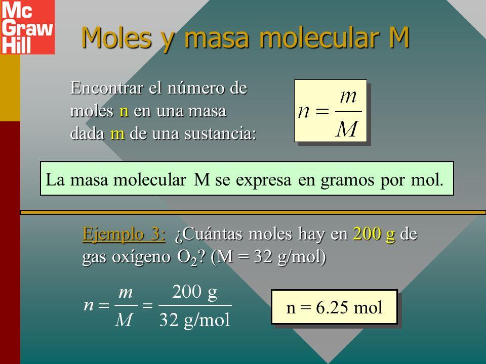 Moles y masa molecular M