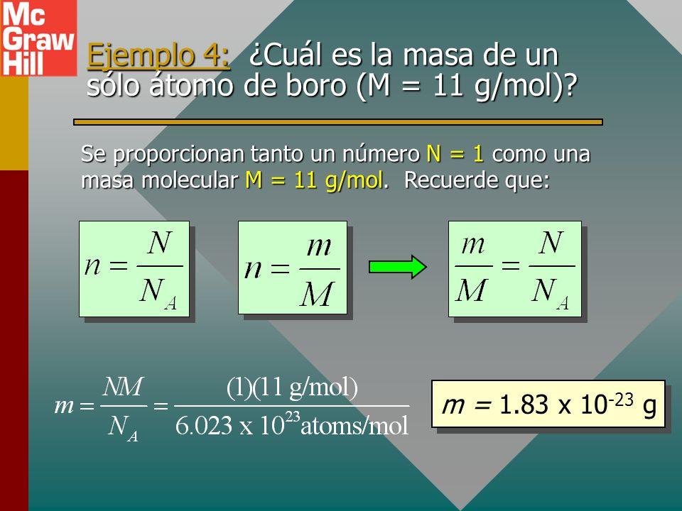 Ejemplo 4: ¿Cuál es la masa de un sólo átomo de boro (M = 11 g/mol)