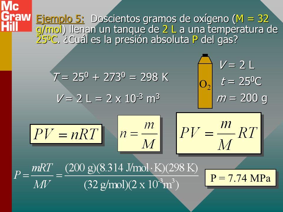 Ejemplo 5: Doscientos gramos de oxígeno (M = 32 g/mol) llenan un tanque de 2 L a una temperatura de 250C. ¿Cuál es la presión absoluta P del gas