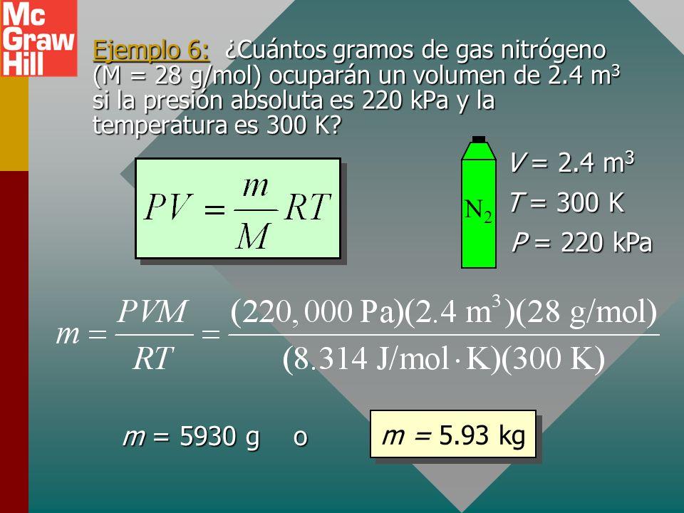 V = 2.4 m3 T = 300 K N2 P = 220 kPa m = 5.93 kg m = 5930 g o