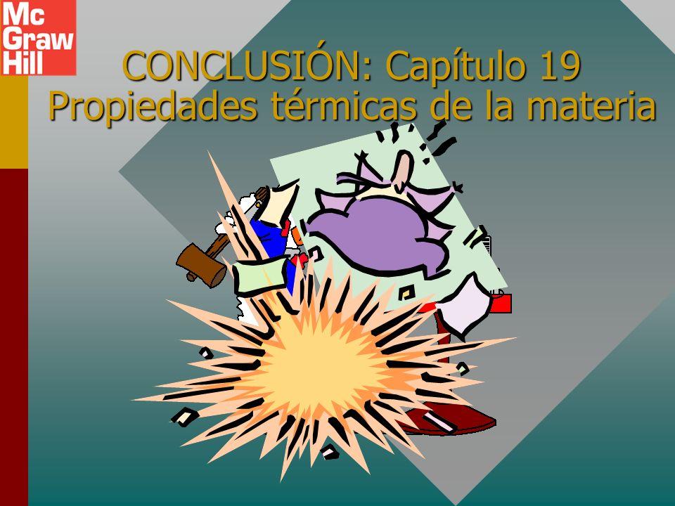 CONCLUSIÓN: Capítulo 19 Propiedades térmicas de la materia