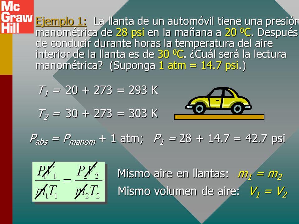 Pabs = Pmanom + 1 atm; P1 = 28 + 14.7 = 42.7 psi