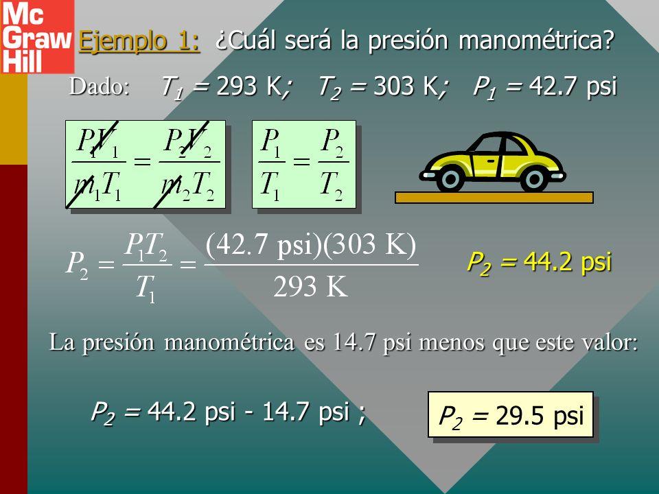Ejemplo 1: ¿Cuál será la presión manométrica