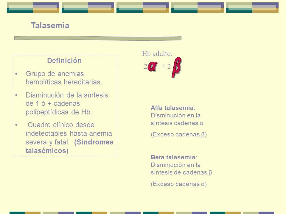β α Talasemia Hb adulto: 2 + 2 Definición