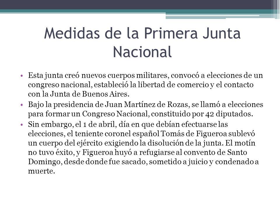 Medidas de la Primera Junta Nacional