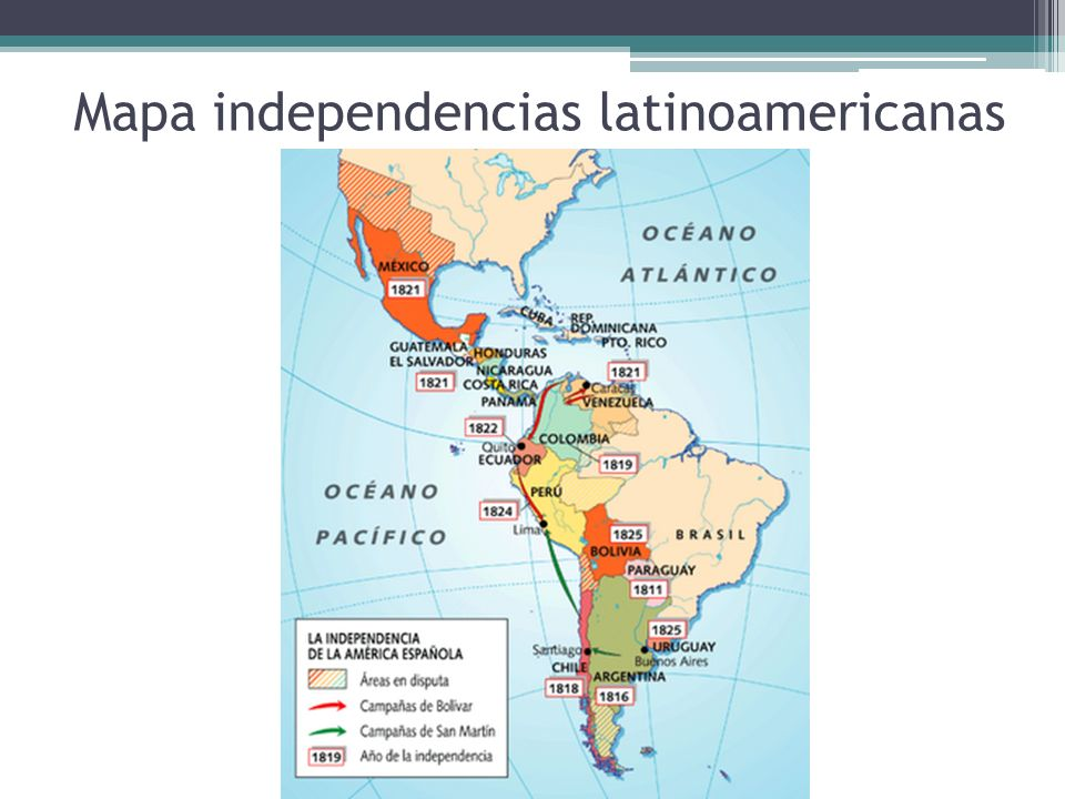 Mapa independencias latinoamericanas