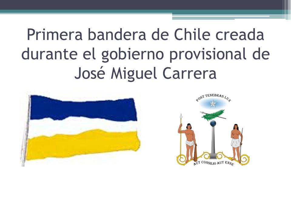Primera bandera de Chile creada durante el gobierno provisional de José Miguel Carrera