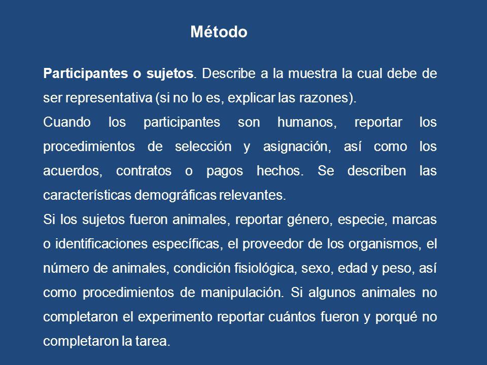 Método Participantes o sujetos. Describe a la muestra la cual debe de ser representativa (si no lo es, explicar las razones).