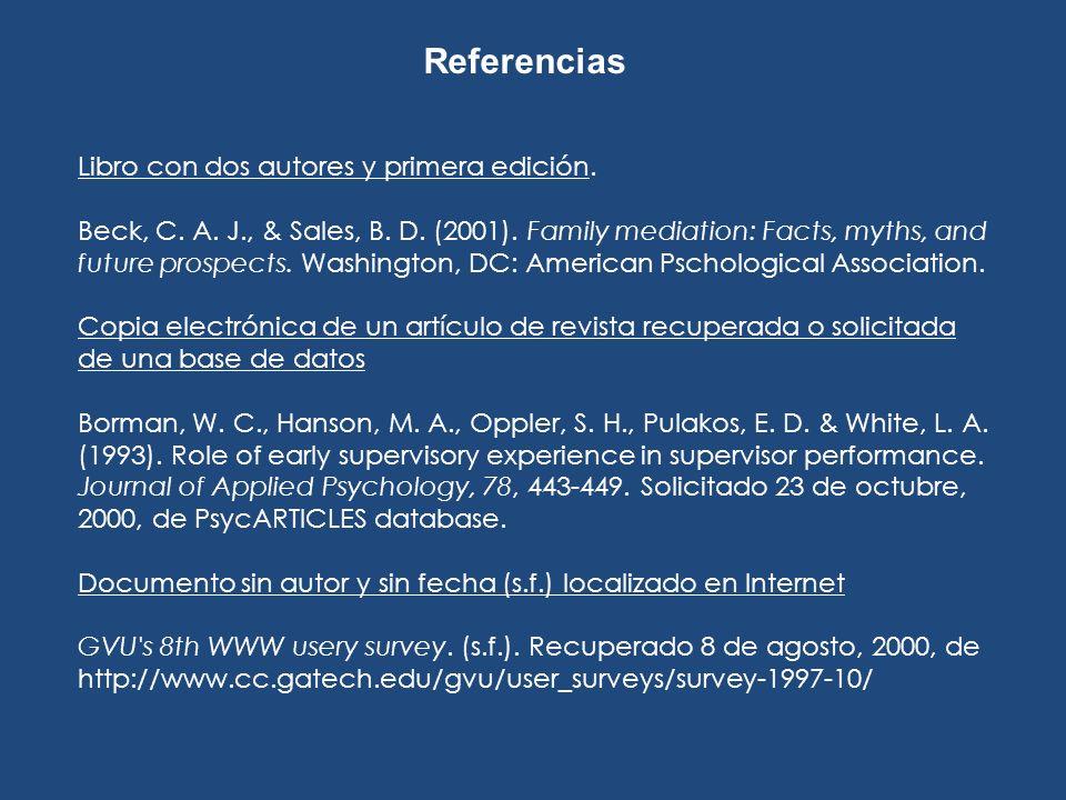 Referencias Libro con dos autores y primera edición.
