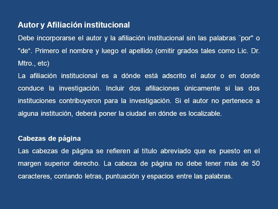 Autor y Afiliación institucional