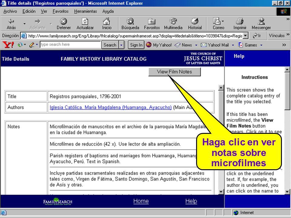 Haga clic en ver notas sobre microfilmes