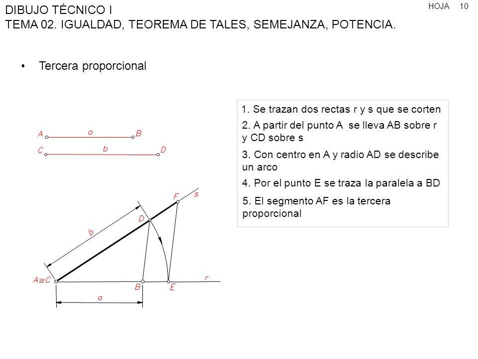 Tercera proporcional 1. Se trazan dos rectas r y s que se corten