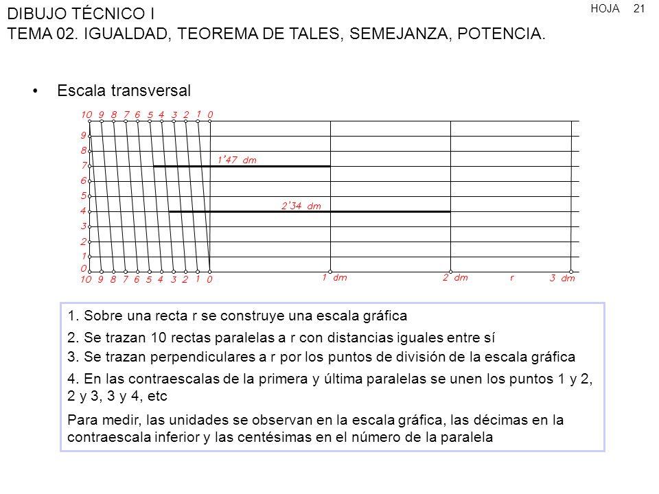 Escala transversal1. Sobre una recta r se construye una escala gráfica. 2. Se trazan 10 rectas paralelas a r con distancias iguales entre sí.
