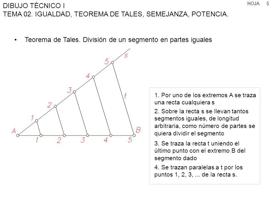 Teorema de Tales. División de un segmento en partes iguales