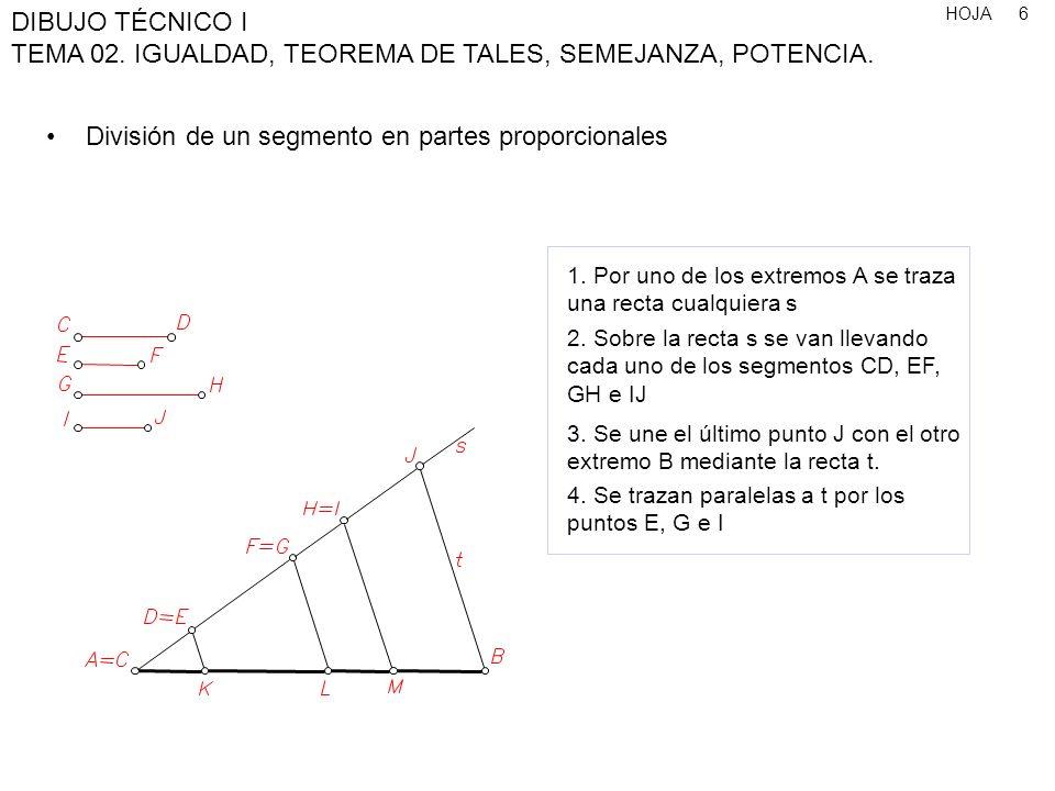 División de un segmento en partes proporcionales