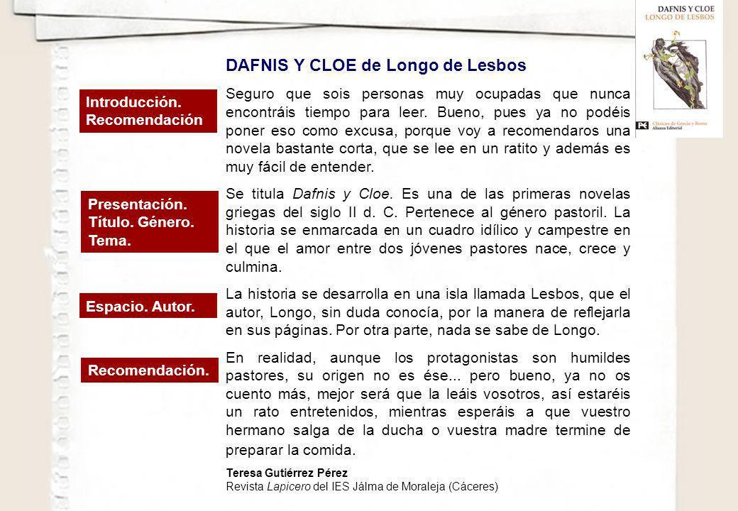 DAFNIS Y CLOE de Longo de Lesbos