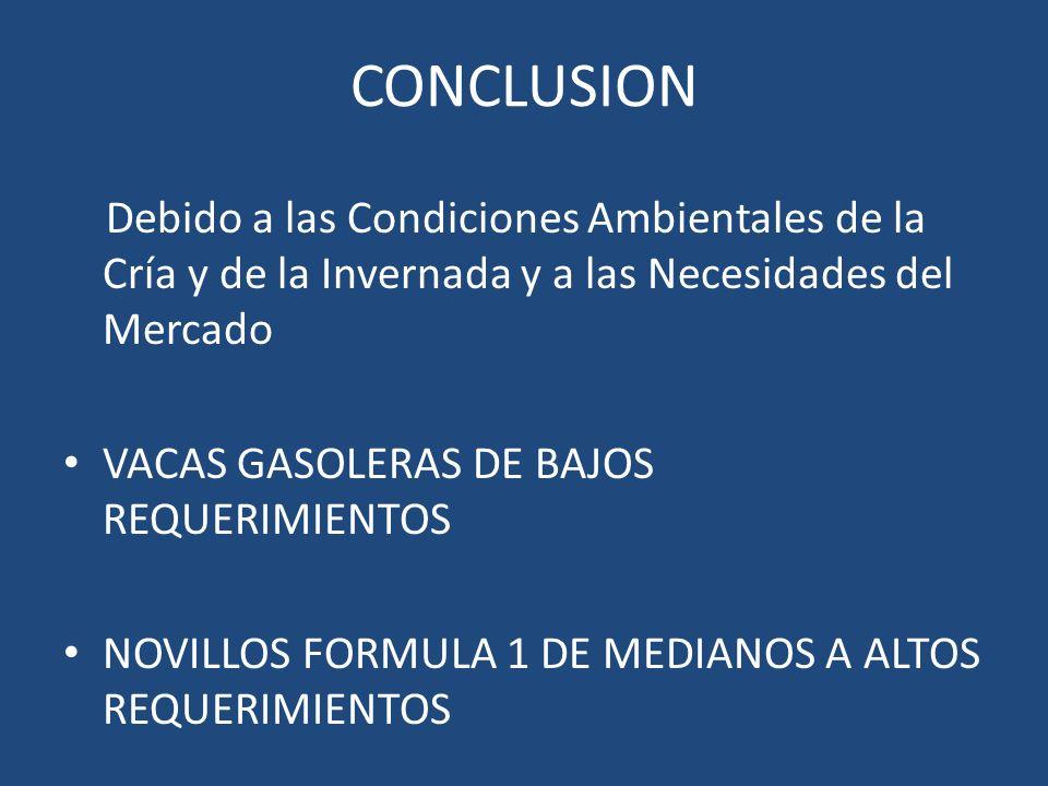 CONCLUSION Debido a las Condiciones Ambientales de la Cría y de la Invernada y a las Necesidades del Mercado.