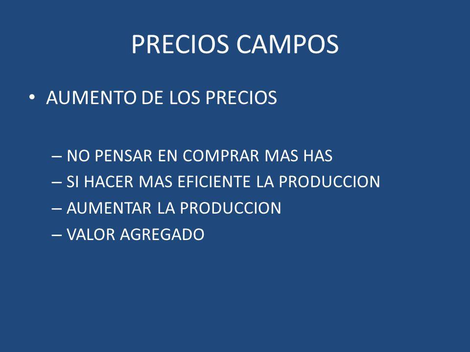PRECIOS CAMPOS AUMENTO DE LOS PRECIOS NO PENSAR EN COMPRAR MAS HAS