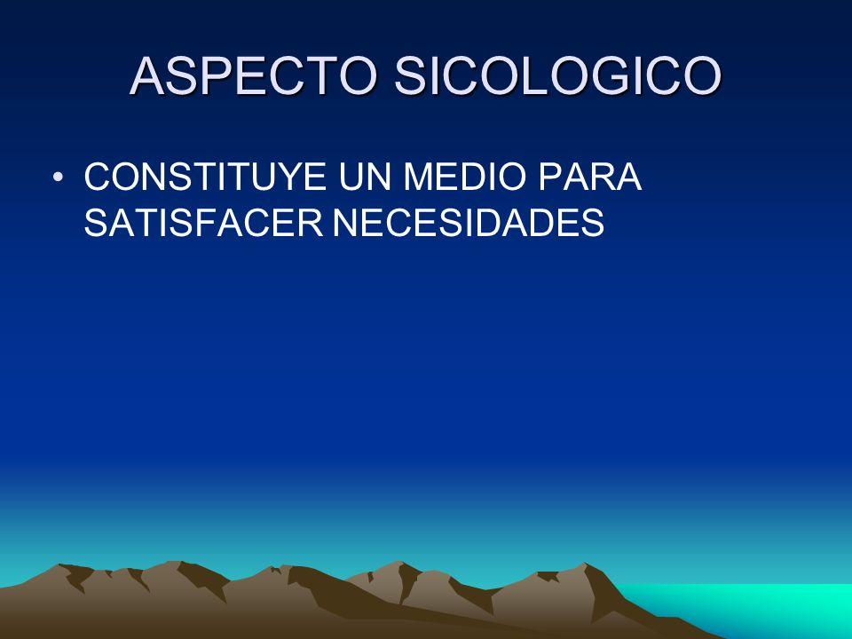 ASPECTO SICOLOGICO CONSTITUYE UN MEDIO PARA SATISFACER NECESIDADES