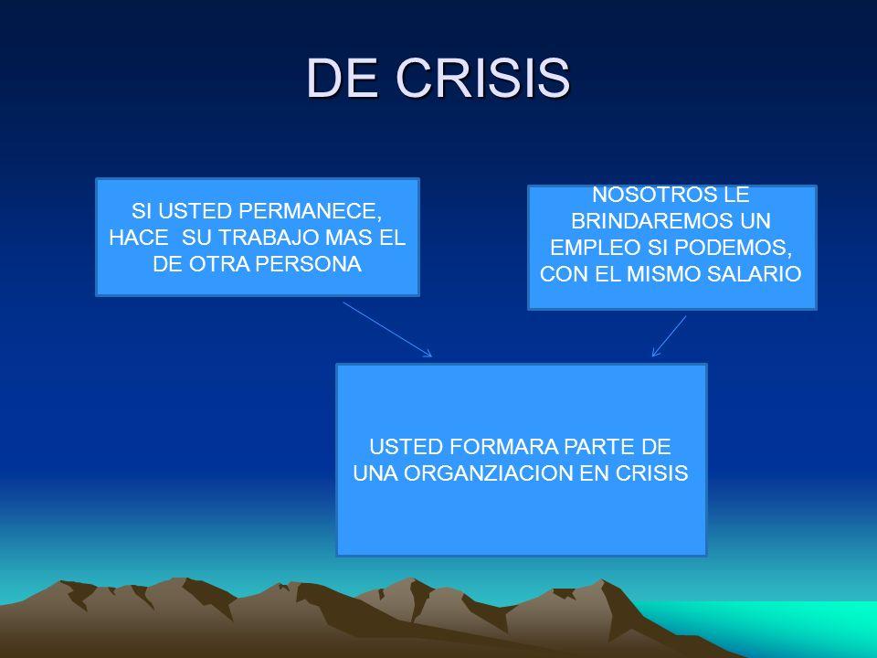 DE CRISIS SI USTED PERMANECE, HACE SU TRABAJO MAS EL DE OTRA PERSONA. NOSOTROS LE BRINDAREMOS UN EMPLEO SI PODEMOS, CON EL MISMO SALARIO.