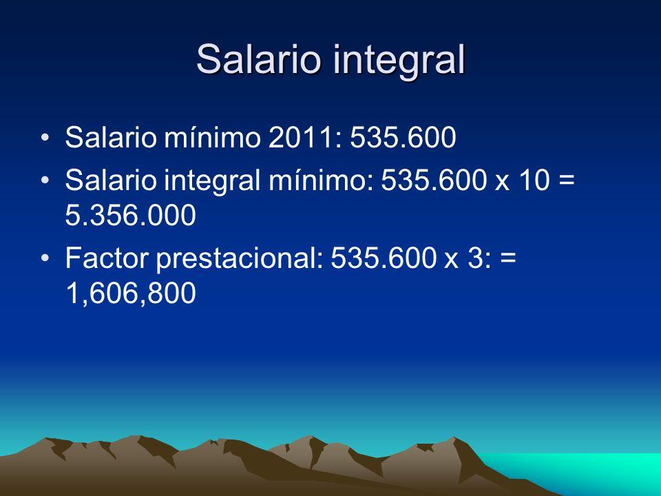 Salario integral Salario mínimo 2011: 535.600
