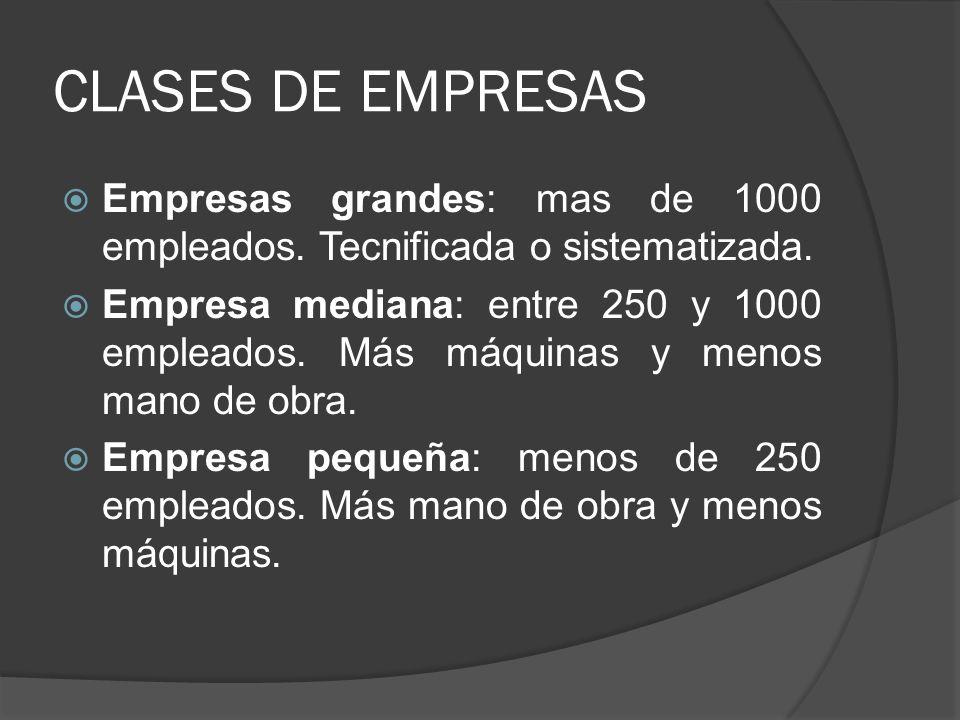 CLASES DE EMPRESAS Empresas grandes: mas de 1000 empleados. Tecnificada o sistematizada.