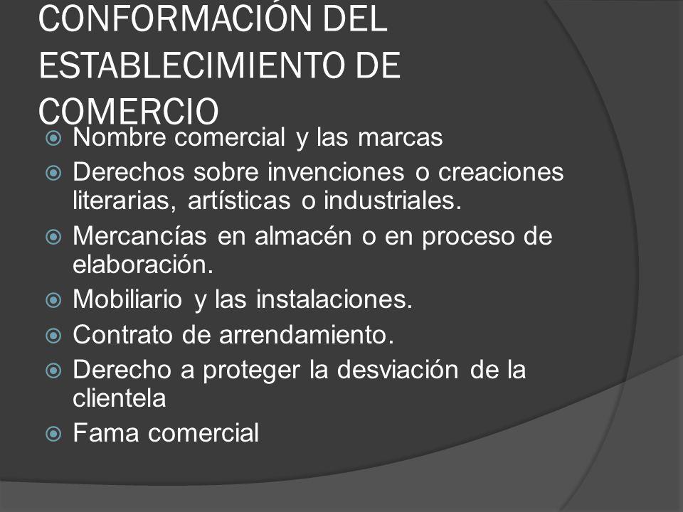 CONFORMACIÓN DEL ESTABLECIMIENTO DE COMERCIO