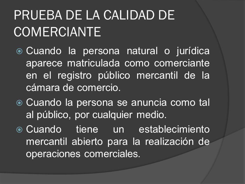 PRUEBA DE LA CALIDAD DE COMERCIANTE