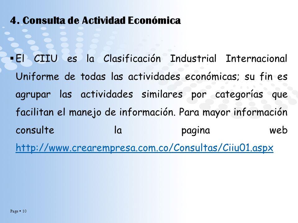 4. Consulta de Actividad Económica