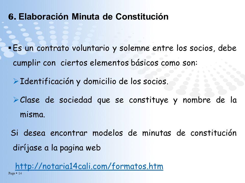 6. Elaboración Minuta de Constitución