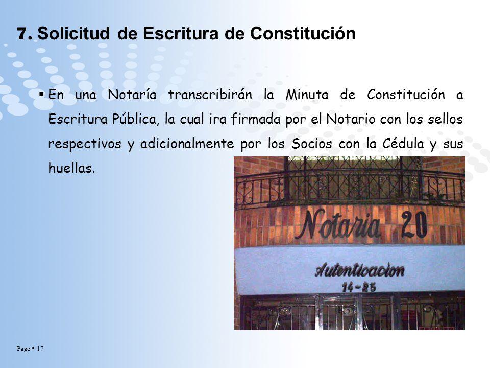 7. Solicitud de Escritura de Constitución