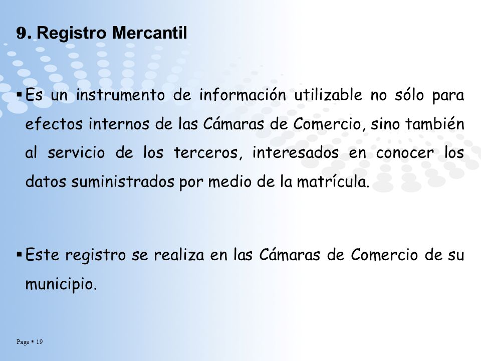9. Registro Mercantil