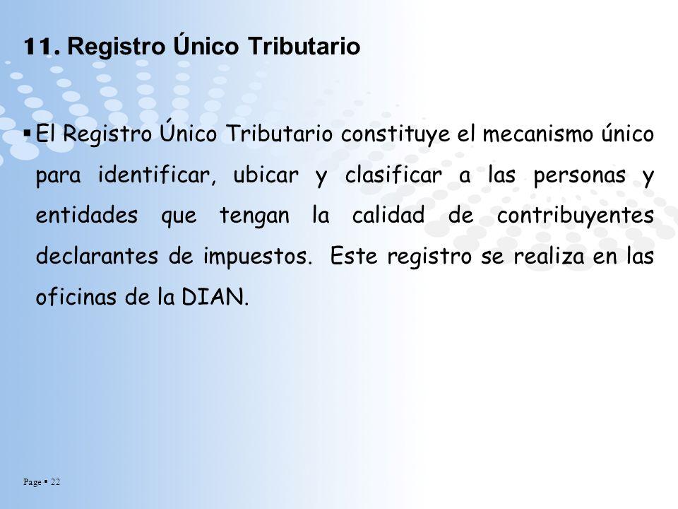 11. Registro Único Tributario
